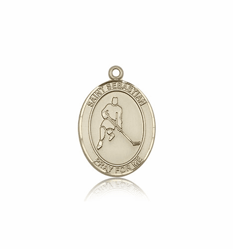 St Sebastian Ice Hockey 14kt Gold Patron Saint Pendant by Bliss