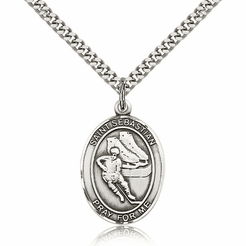 St Sebastian Ice Hockey Player Sterling-Filled Patron Saint Medal by Bliss