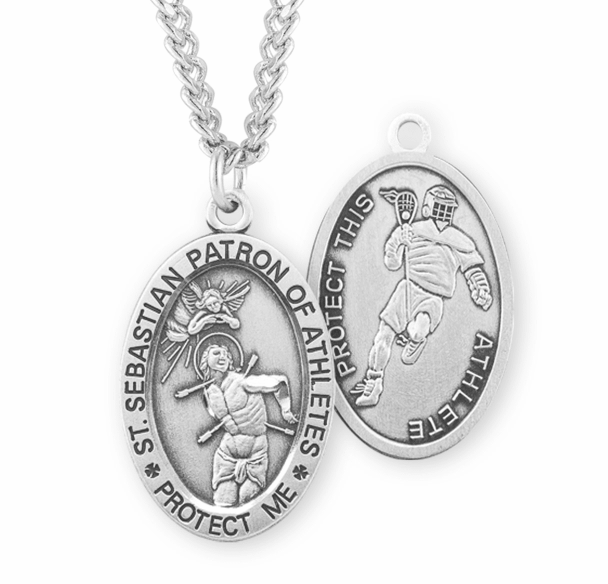 HMH Religious St Sebastian Lacrosse Oval Sterling Silver Sports Necklace