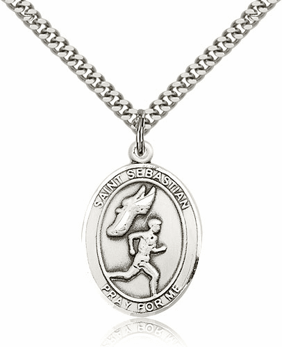 St Sebastian Male Track & Field Sterling-Filled Patron Saint Medal by Bliss