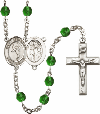 St Sebastian Martial Arts Athlete Silver-Plated Birthstone Rosary