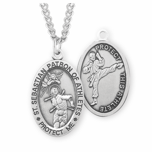 HMH Religious St Sebastian Martial Arts Oval Sterling Silver Sports Necklace