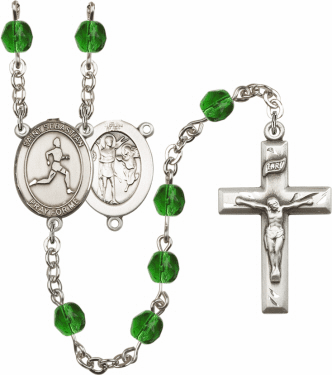 St Sebastian Men Track and Field Athlete Silver-Plated Birthstone Rosary