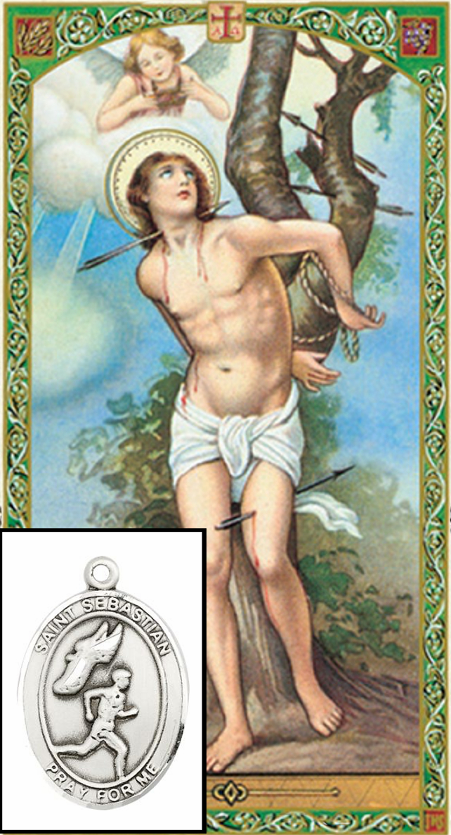 St Sebastian Mens Track Prayer Card and Pewter Pendant Necklace Gift Set