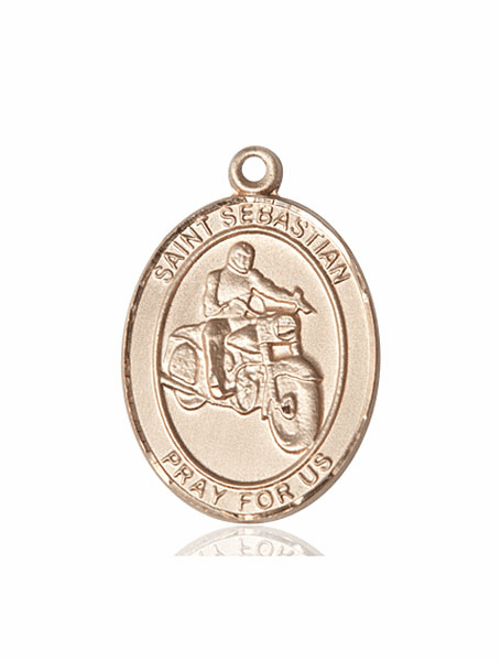 St Sebastian Motorcycle Riding 14kt Gold Sports Medal Pendant by Bliss