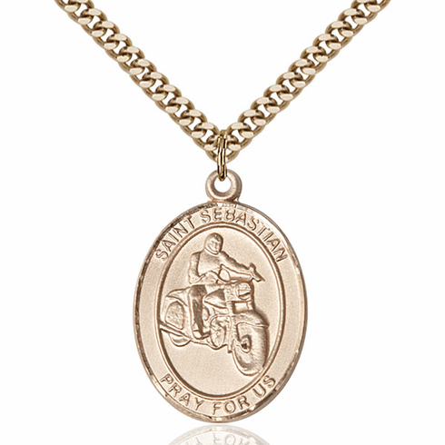 St Sebastian Motorcycle Riding Sports 14kt Gold-Filled Pendant Necklace by Bliss