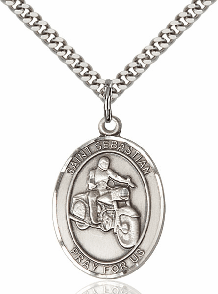 St Sebastian Motorcycle Riding Sterling Silver Necklace by Bliss
