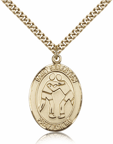St Sebastian Gold-filled and 14kt Gold Sports Medals
