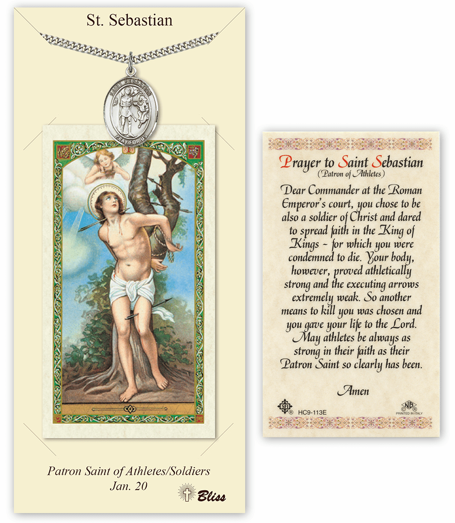 Bliss Mfg St Sebastian Prayer Card & Pendant Gift Set