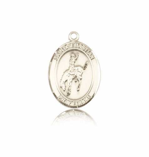 St Sebastian Rodeo 14kt Gold Patron Saint Medal by Bliss
