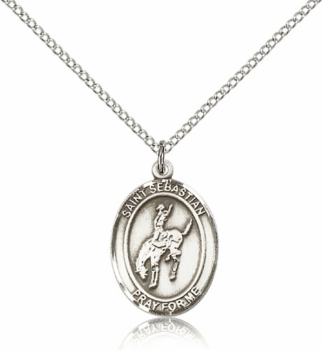 St Sebastian Rodeo Sterling Silver Saint Necklace by Bliss