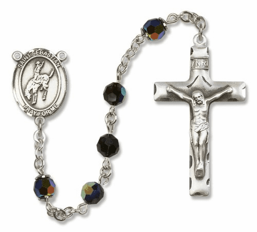 St Sebastian Rodeo Sterling Silver Sports Rodeo Rosary