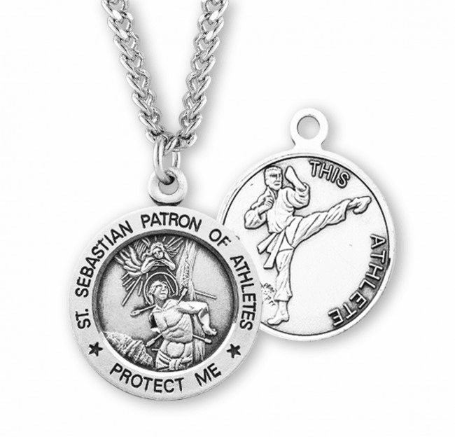 St Sebastian Round Martial Arts Sports Saint Medal Necklace by HMH Religious