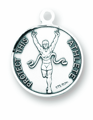 St Sebastian Round Track Sports Saint Medal Necklace by HMH Religious