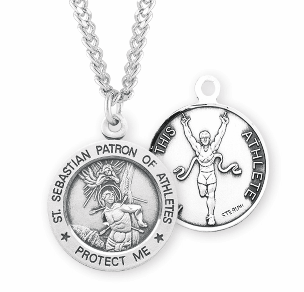 HMH Religious St Sebastian Round Track Sports Saint Medal Necklace