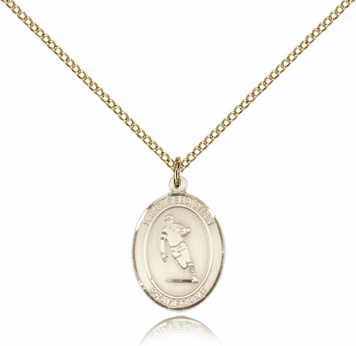 St Sebastian Rugby 14kt Gold-Filled Saint Pendant by Bliss