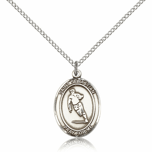 St Sebastian Rugby Sterling Silver Saint Necklace by Bliss