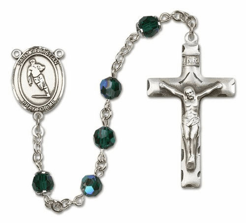 St Sebastian Rugby Sterling Silver Sports Rosary