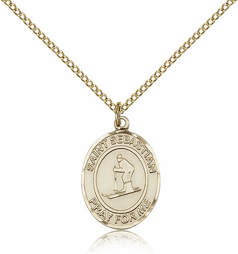 St Sebastian Skiing 14kt Gold-Filled Saint Pendant by Bliss