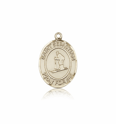 St Sebastian Skiing 14kt Gold Patron Saint Pendant by Bliss