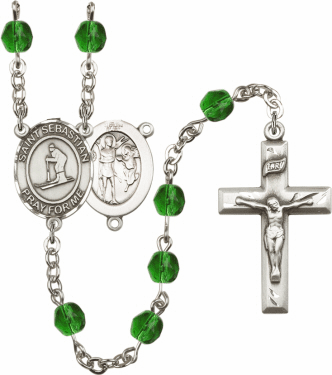 St Sebastian Skiing Athlete Silver-Plated Birthstone Rosary