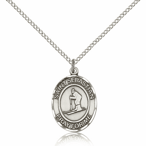 St Sebastian Skiing Sterling Silver Saint Necklace by Bliss
