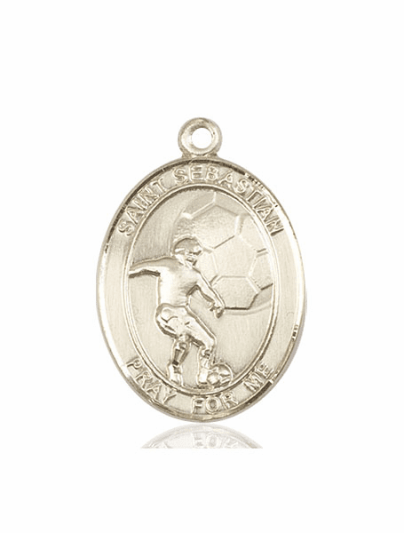 St Sebastian Soccer 14kt Gold Sports Medal Pendant by Bliss