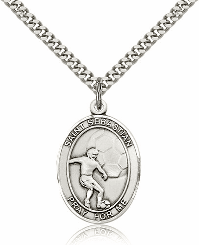 St Sebastian Soccer Player Sterling-Filled Patron Saint Medal by Bliss