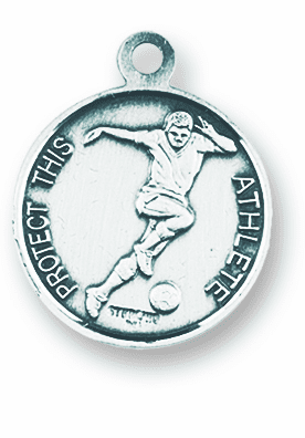 St Sebastian Soccer Player Sterling Saint Necklace by HMH Religious