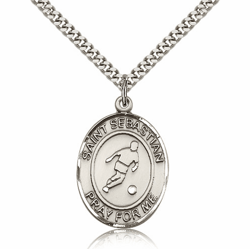 St Sebastian Soccer Silver-Filled Patron Saint Medal by Bliss Manufacturing