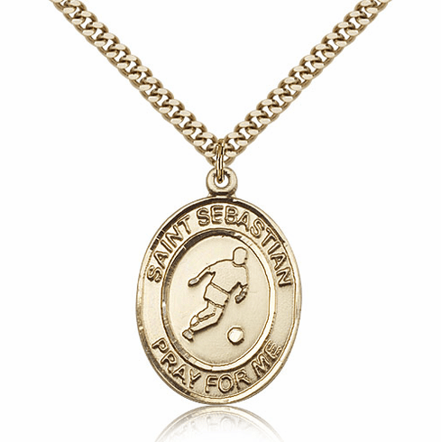 St Sebastian Soccer Sports 14kt Gold-Filled Pendant Necklace by Bliss