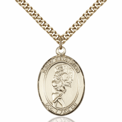St Sebastian Softball Player 14kt Gold-Filled Pendant Necklace by Bliss