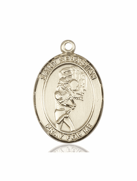 St Sebastian Softball Player 14kt Gold Sports Medal Pendant by Bliss
