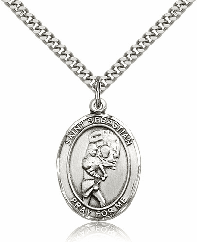 St Sebastian Softball Player Pewter Patron Saint Necklace by Bliss