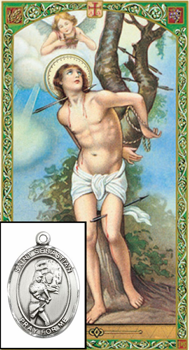 St Sebastian Softball Prayer Card and Pewter Pendant Necklace Gift Set