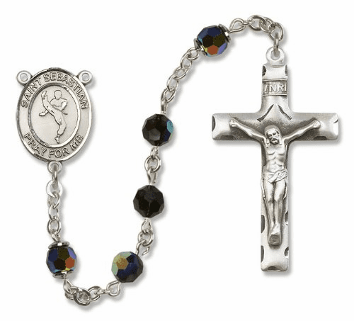 St Sebastian Sports Martial Arts Sterling Silver Rosary