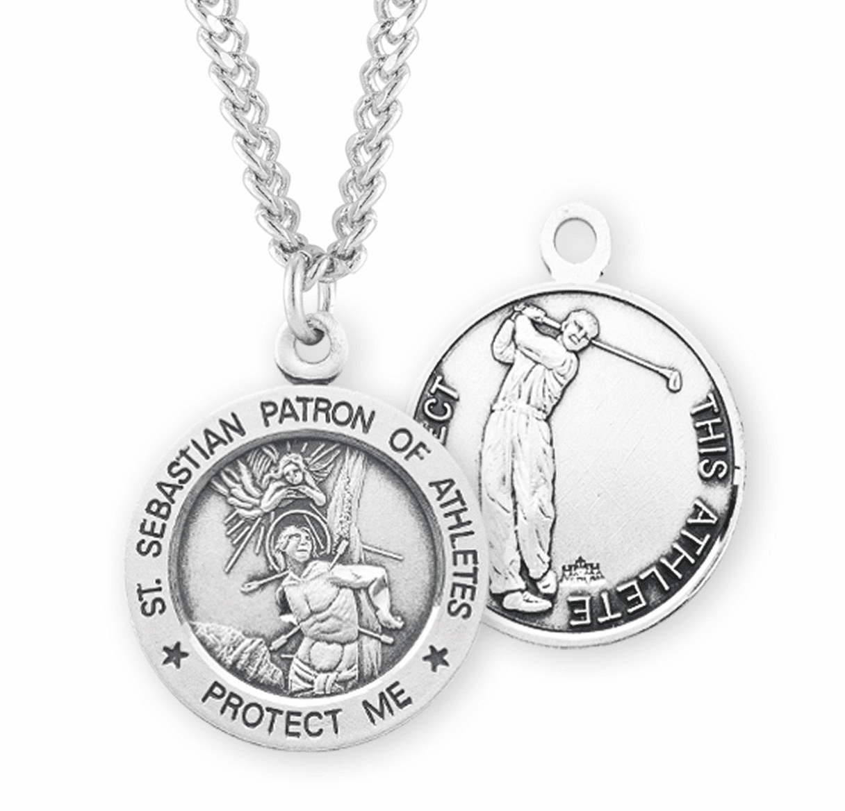 HMH Religious St Sebastian Sterling Silver Golf Sports Medal Necklace