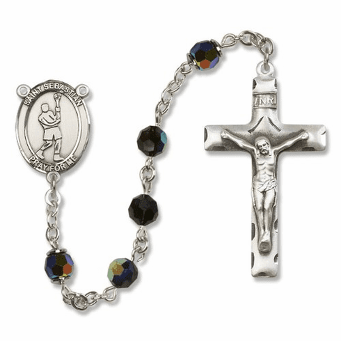 St Sebastian Lacrosse Sterling, Gold-filled & 14kt Gold Rosary - More Colors