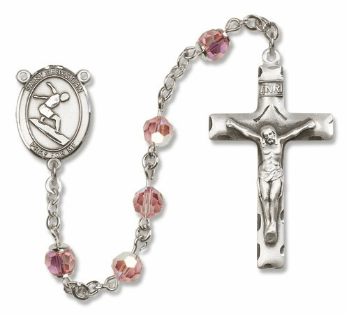 St Sebastian Sterling Silver Sports Surfing Rosary