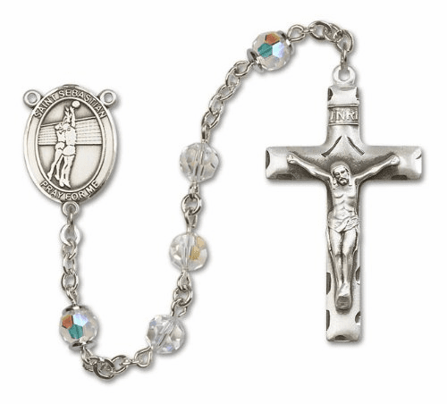 St Sebastian Sterling Silver Sports Volleyball Rosary