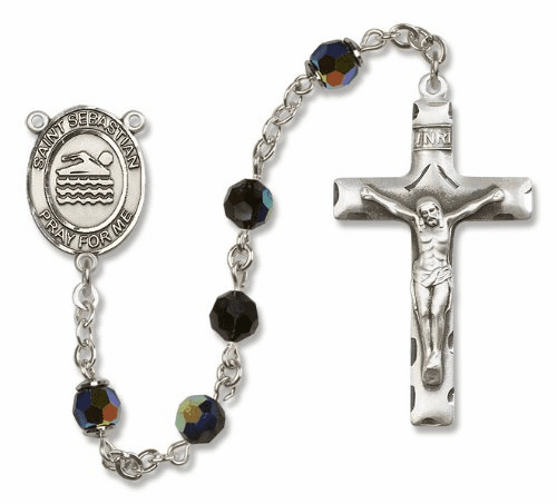 St Sebastian Sterling Silver Swimming Sports Rosary