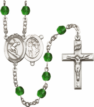 St Sebastian Surfing Athlete Silver-Plated Birthstone Rosary