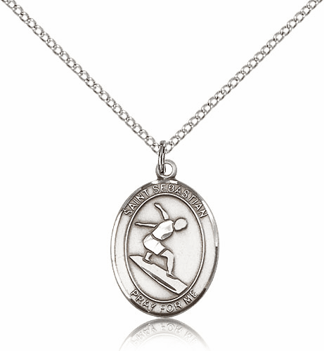 St Sebastian Surfing Sterling Silver Saint Necklace by Bliss