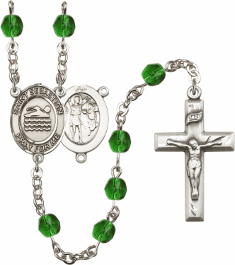St Sebastian Swimming Athlete Silver-Plated Birthstone Rosary