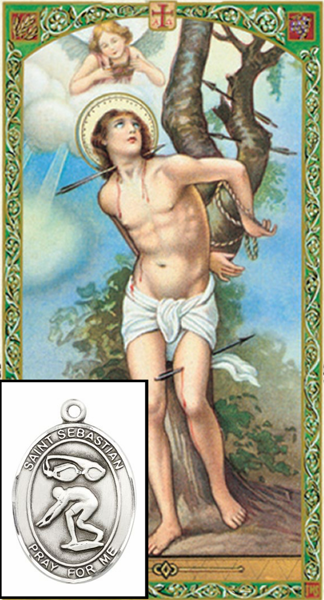 St Sebastian Swimming Prayer Card and Pewter Pendant Necklace Gift Set
