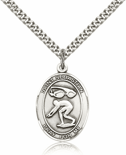 St Sebastian Swimming Sterling-Filled Patron Saint Medal by Bliss