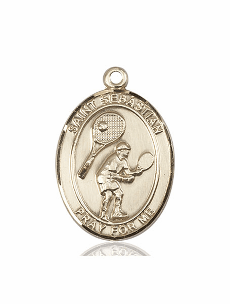 St Sebastian Tennis 14kt Gold Sports Medal Pendant by Bliss