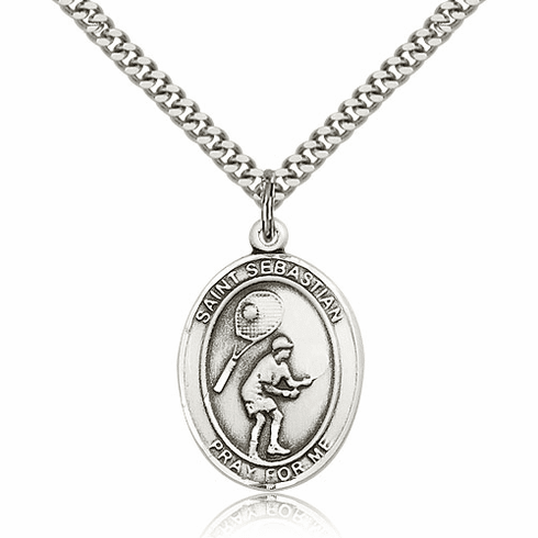 St Sebastian Tennis Player Sterling-Filled Patron Saint Medal by Bliss