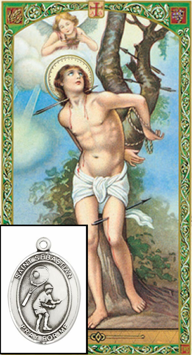 St Sebastian Tennis Prayer Card and Pewter Pendant Necklace Gift Set