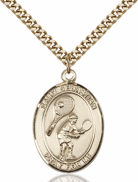 St Sebastian Tennis Sports 14kt Gold-Filled Pendant Necklace by Bliss